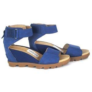 New Sorel joanie ll ankle strap wedge blue sandals